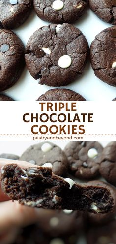 Triple Chocolate Cookies-These triple chocolate cookies are soft in the middle and crispy at the edges. These yummy cookies are also slightly chewy! When you crave sweet, you should make these easy and delicious cookies! #chocolatecookies #triplechocolatecookies #easycookies Recipe on pastryandbeyond.com with step by step pictures.