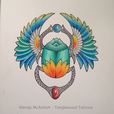 Egyptian scarab tattoo design by Wendy McAninch