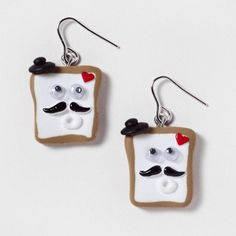 Ooh la la! We ♥ the little mustaches on these French Toast Drop Earrings