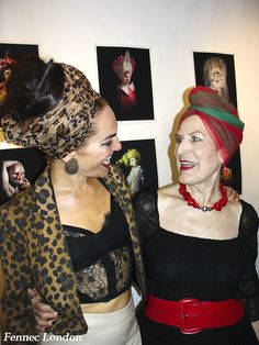 The beautiful burlesque performer La Beti @labetiduende and mum Olga looking fabulous in #scarves tied as turbans at the opening of Night Flowers exhibition by Damien Frost.  #actress #look #outfit #styleblogger #style #styling #stylegram #luxurystyle #jewellery #jewelry #beauty #smile #creative #art #fashionphotography #burlesque #londoner #fashion #fashionblogger #photooftheday #bohemian #streetstyle #silkscarf #foulard #fashionista #motherhood #family #celebrity #turban