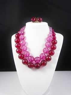 Vintage Purple Lucite Disco Ball Necklace Earrings by VintageGemz, $20.00