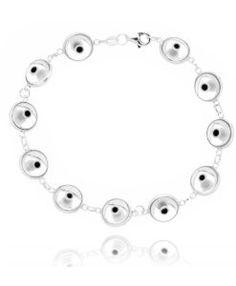 pulseira olho grego transparente prata 925