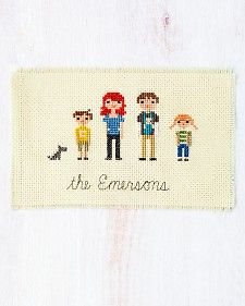 Love the idea of making cross stitch family portrait