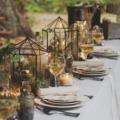 Earthy greens table setting- Enchanted Forest/Woodland Wedding Inspiration