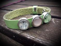 """Armbänder - Lederarmband """" grün Pusteblume""""  mit Schiebeperlen - ein Designerstück von Frau-Wiesenfuchs bei DaWanda"""