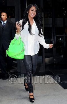 """LaLa Vasquez Carrying Givenchy Neon Nightingale Tote Lala Vasquez was spotted all smiles after having lunch and filming scenes with Kim Kardashian for season two of """"Kim and Kourtney Take New York"""". She was spotted carrying the new patent leather and nylon Givenchy medium neon Nightingale Bag from the Fall 2011 Collection. *courtesy of UK's exclusive luxury authentic handbag SPA Visit us on Facebook: www.facebook.com/DelortaeAgency"""
