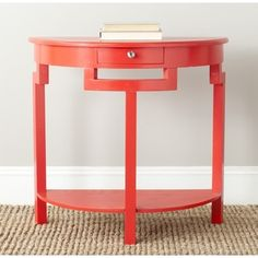 Red Demilune table for entryway