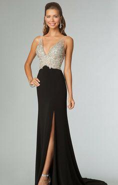 robe bal de promo noire longue fendue à décolleté plongeant