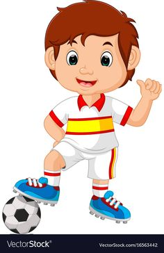 Cartoon child playing football vector image on VectorStock Cartoon Clip, Cartoon Pics, Cute Cartoon, Desenho Kids, Jouer Au Foot, Kindergarten Coloring Pages, All About Me Preschool, Up Theme, Morning Cartoon