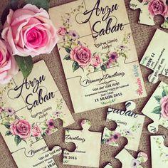 Yapboz Davetiye / Wedding invitation www.masalsiatolye.com #masalsiatolye #davetiye #weddinginvitation #yapbozdavetiye #puzzle