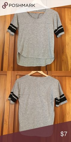 Loose fitting tee Loose gray tee with black stripes on sleeves. Worn only once. Cotton On Tops Tees - Short Sleeve
