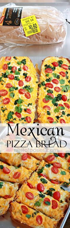 Mexican Pizza Bread.  The sauce for this pizza is amazing!  Feed your entire family for a couple of dollars!