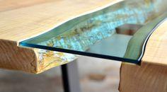 Detail shot of inlayed glass in Greg Klassen Furniture Maker River Dining table