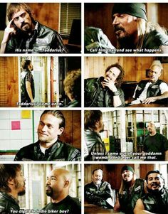 I laughed a little too hard on this part. When Rat got charged up & T. O. got patched into SAMCRO