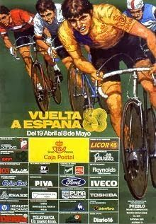 1983 Vuelta a Espana Poster. The cyclists achieve more room in this 1983 poster. The detail of main sketch is also more prominent. We're still not keen however of the choice of background colour. Bike Poster, Cycling Art, Racing Team, Colorful Backgrounds, Background Colour, Sketch, Posters, Detail, Sport