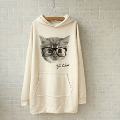 d17ad847ce1ec Cute Cat Pattern Plus Size Long Sleeve Hoodie For Women (WHITE