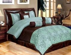 turquoise and brown bedding | New 11 Piece Queen Bedding Aqua Blue Brown Peony Comforter Set Inc 1 …