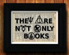 They are not only books - vintage dictionary print - Percy Jackson, Hunger games, Harry Potter, Divergent, Mortal Instruments, teen books