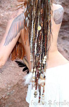 DREAM WEAVER • Tribal Hair Wraps • Temporary Dreadlocks • Hippie Boho Native Bohemian Hair Wraps • Leather Beaded Braids • Unique Dread Fall