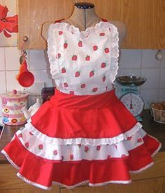 Strawberry and white retro 1950's pin up style baking apron | eBay