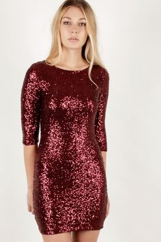 LA LUXE Burgundy Sequin Three Quarter Sleeve Dress http://www.zocko.com/z/JJoUj