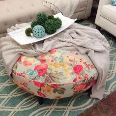 A floral ottoman never loved so good. {Down to Earth} #downtoearthhome…