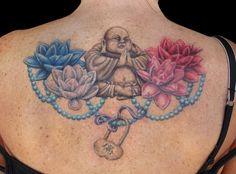 rachel Gilbert, tattoo, buddha, lotuses, prayer beads, lock