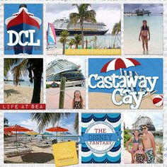 CruiseFlair..lots of great cruise pages all the way down in blog Cruise Scrapbook Pages, Paper Bag Scrapbook, Vacation Scrapbook, Birthday Scrapbook, Wedding Scrapbook, Scrapbooking Layouts, Digital Scrapbooking, Cruise Pictures, Castaway Cay