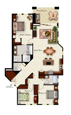 Three bedroom, two bathroom, and almost the exact same layout we have now, only cooler :) Small House Plans, House Floor Plans, 3 Bedroom Floor Plan, Small Condo, D House, Cottage House, Tiny House, Apartment Floor Plans, Apartment Layout