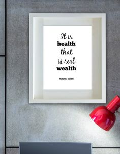 Printable art INSTANT wall decor Gandhi quote. Health is wealth.  Wall art. Instant decor. Download now. Instant quote. Inspirational quote