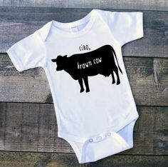 Ciao brown cow infant bodysuit. Dont see what you want? Want a different variation on something you see? Send me a message! Making custom requests is my favorite!   MATERIAL. All items are printed on 100% super soft cotton the items are no pre-shrunk. However, they do fit true to size if you have any questions feel free to message me and I can provide a sizing chart.  COLORS. The colors can appear different on your computer/mobile screen when compared to the physical product. Take a look at…