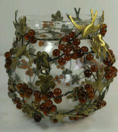 Vintage Brass Bird Leaves Grape Amber Design Glass Votive Candle Holder Vase