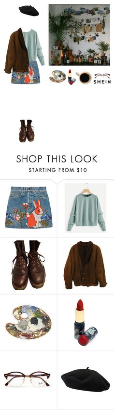"""""""Hopelessly Devoted"""" by cassie-paulke ❤ liked on Polyvore featuring Gucci, Dr. Martens, Zoot, GET LOST, Accessorize, Ray-Ban and Goorin"""
