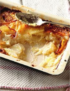 Potato dauphinoise from Hugh Fearnley-Whittingstall's River Cottage Veg Every… Veg Recipes, Turkey Recipes, Fall Recipes, Vegetarian Recipes, Cooking Recipes, Thanksgiving Recipes, Xmas Food, Christmas Cooking, Christmas Dinners