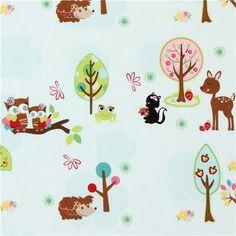 blue Riley Blake fabric kawaii owl hedgehog deer  cute fabric with owls, hedgehog, deer, frog & skunk from the USA