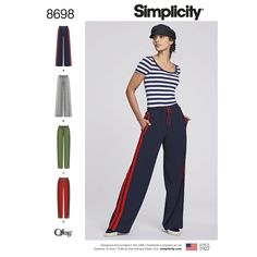 Our off-the-field track pants for Misses are perfect to slip on after a workout or for lounging. The pattern features your choice of a wide leg or slim design with side zips or slits. Find this Simplicity sewing pattern at simplicity.com.