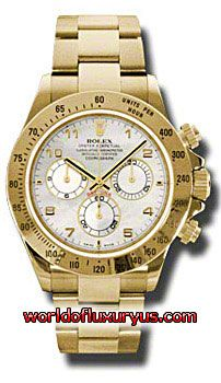 116528-MA - This Rolex Oyster Perpetual Cosmograph Daytona Yellow Gold Mens Watch features 40 mm 18K yellow gold case, Mother of pearl dial, Sapphire crystal, Fixed bezel, and a Stainless Steel and 18K yellow gold bracelet. Rolex Oyster Perpetual Cosmograph Daytona Yellow Gold Mens Watch also features Automatic movement, Analog display. It is water resistant up to 100m/330ft. - See more at: http://www.worldofluxuryus.com/watches/Rolex/Daytona/116528-MA/641_645_6572.php#sthash.rX1qIlaG.dpuf