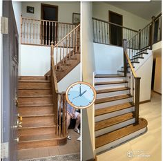 Time for an upgrade? Call us for your staircase, tile & refinishing needs: 705 721 6852 Wood Stair Treads, Wood Balusters, Staircase Railings, Tile Stairs, Wood Stairs, Tile Refinishing, Foyer, Ontario, Home Decor