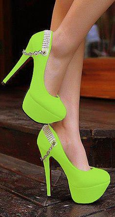 Green lime high heels pumps with chains
