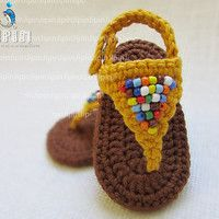 Items similar to baby girl sandals baby shoes baby girl shoes baby sandals crochet sandals yellow shoes beaded sandals on Etsy Baby Girl Boots, Baby Girl Sandals, Crochet Baby Sandals, Crochet Baby Boots, Booties Crochet, Crochet Shoes, Baby Booties, Baby Shoes, Baby Patterns