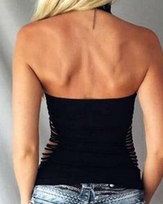 Chic halter neck tank top cut out backless style for women