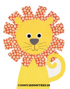 1607 Orange and Yellow Lion Nursery Artwork by 3000yardsofthread