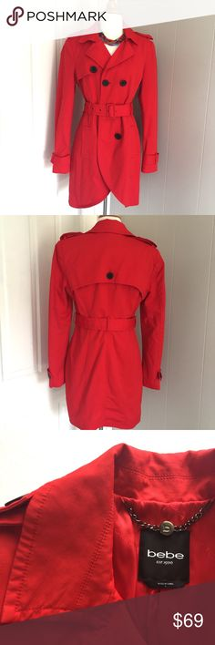 "{Bebe} Bright Red Trench Coat OMG ❤️❤️❤️ this coat is to die for!! Too big for me, so it's going on Poshmark  Fully lined, this jacket is the perfect transition piece from Winter to Spring. Double breasted with a matching belt. Never worn. It's a size Large but it fits a little small. Shell is 53% cotton 42% nylon and 4% spandex. Shoulder 16"". Sleeve 26"". Waist 16"". Length 34.5"" ❤️ no trades please! bebe Jackets & Coats Trench Coats"