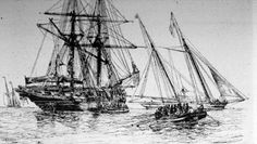 """Smaller boats take captives to waiting ocean going vessels. Walvin's caption, """"a slaver taking in negroes, 1844""""."""