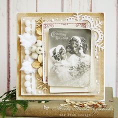 Christmas Greetings with a sweet vintage image and papers from the new The Night…