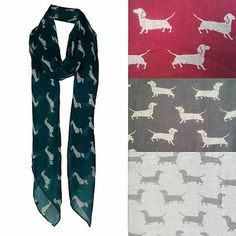 NEW WOMEN'S SCARF SAUSAGE DOG PUPPY DACHSHUND CUTE CLASSIC VINTAGE WRAP SHAWL