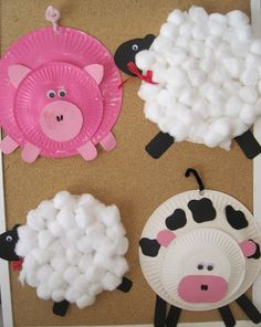 farm animals from plates or even just circles cut from construction paper- Farm week