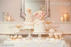 WedLuxe: pretty sweet table with ivory, gold and peach treats by Anna Elizabeth Cakes #wedding #desserts