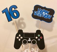 3 piece Playstation birthday party centerpiece with bamboo skewers included It will come unassembled. Can make in blue or red. Please put in notes if you want red. Birthday Numbers, Birthday Games, Birthday Party Themes, Happy Birthday, Playstation Cake, Xbox Party, Video Game Party, Video Game Cakes, Birthday Party Centerpieces