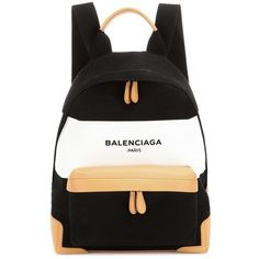 Balenciaga Navy Leather-Trimmed Canvas Backpack ($1,475) ❤ liked on Polyvore featuring bags, backpacks, backpack, black, knapsack bag, balenciaga backpack, balenciaga, canvas backpack and canvas rucksack